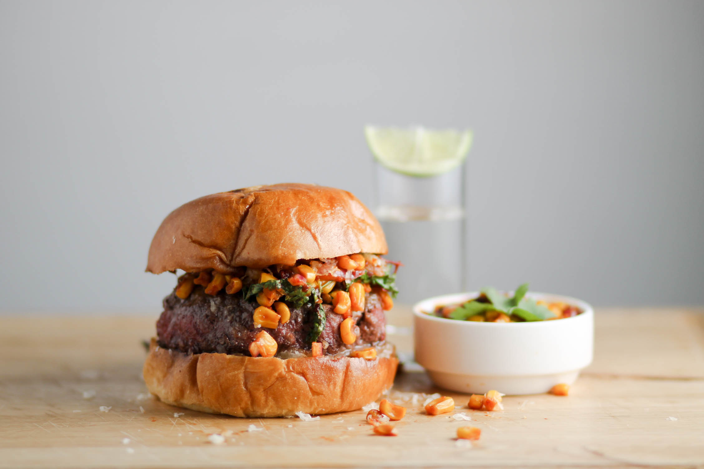 Corn Salsa Burger