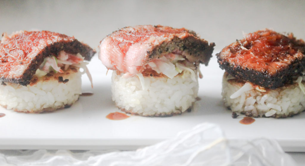 Seared Tuna on Rice Cakes by Diverse Dinners