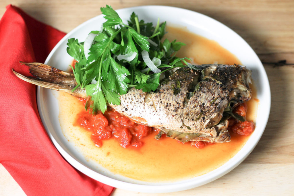 Baked Snapper with Tomato Sauce by Diverse Dinners