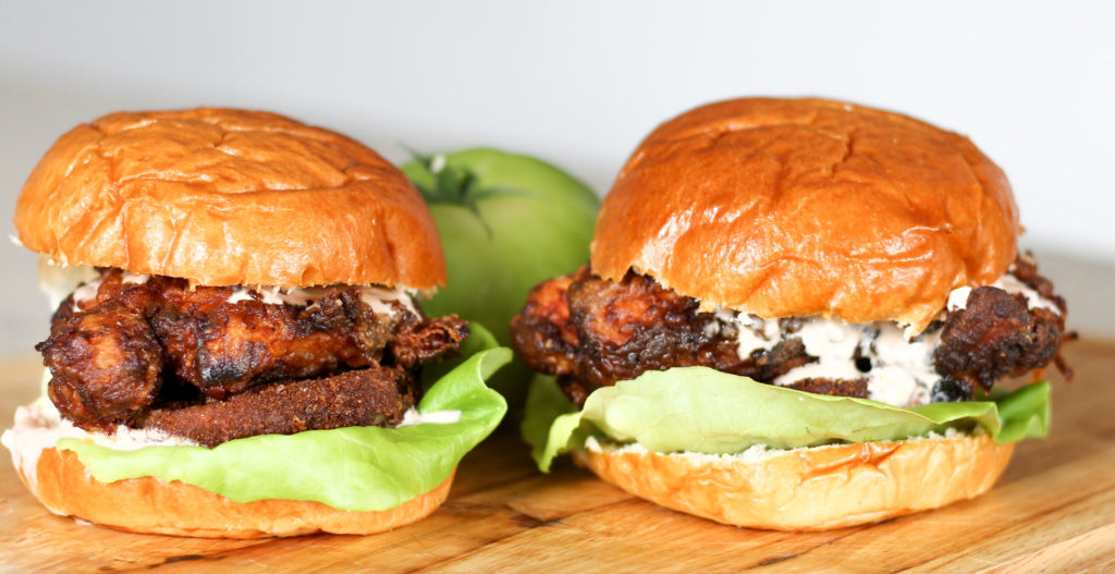 Chicken and Fried Green Tomato Burger by Diverse Dinners