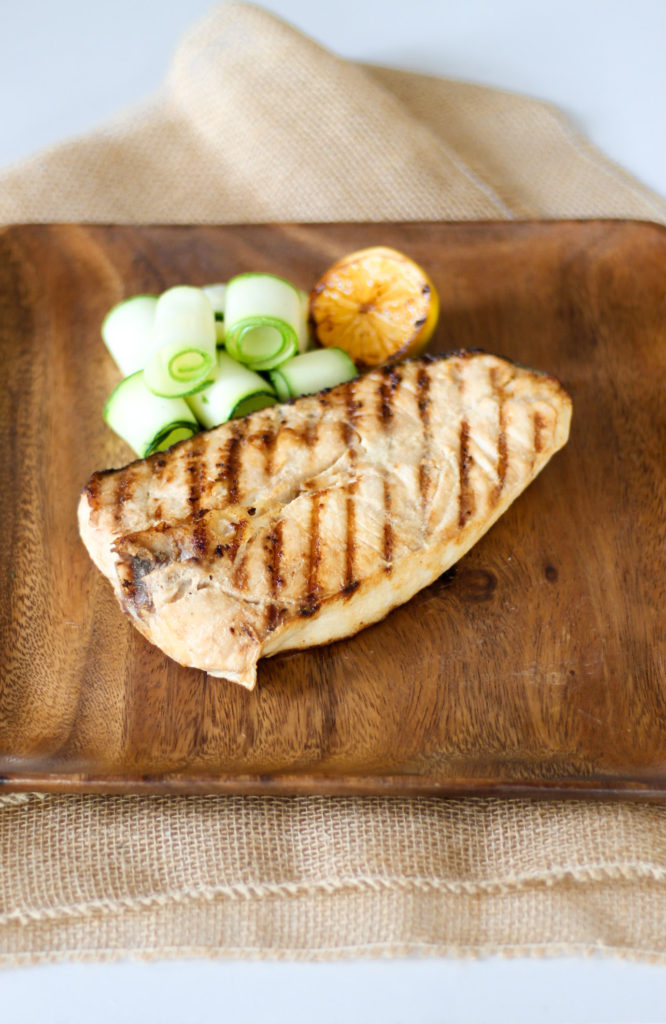 Grilled Lemon Butter Halibut Steaks by Diverse Dinners
