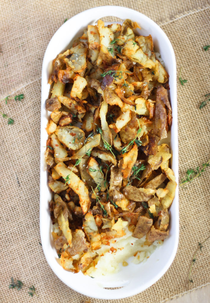 Potato Skin Topped Garlic Mashed Potatoes by Diverse Dinners
