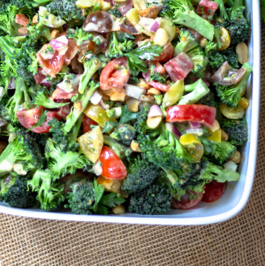 Raw Broccoli Salad with Peanut Dressing by Diverse Dinners