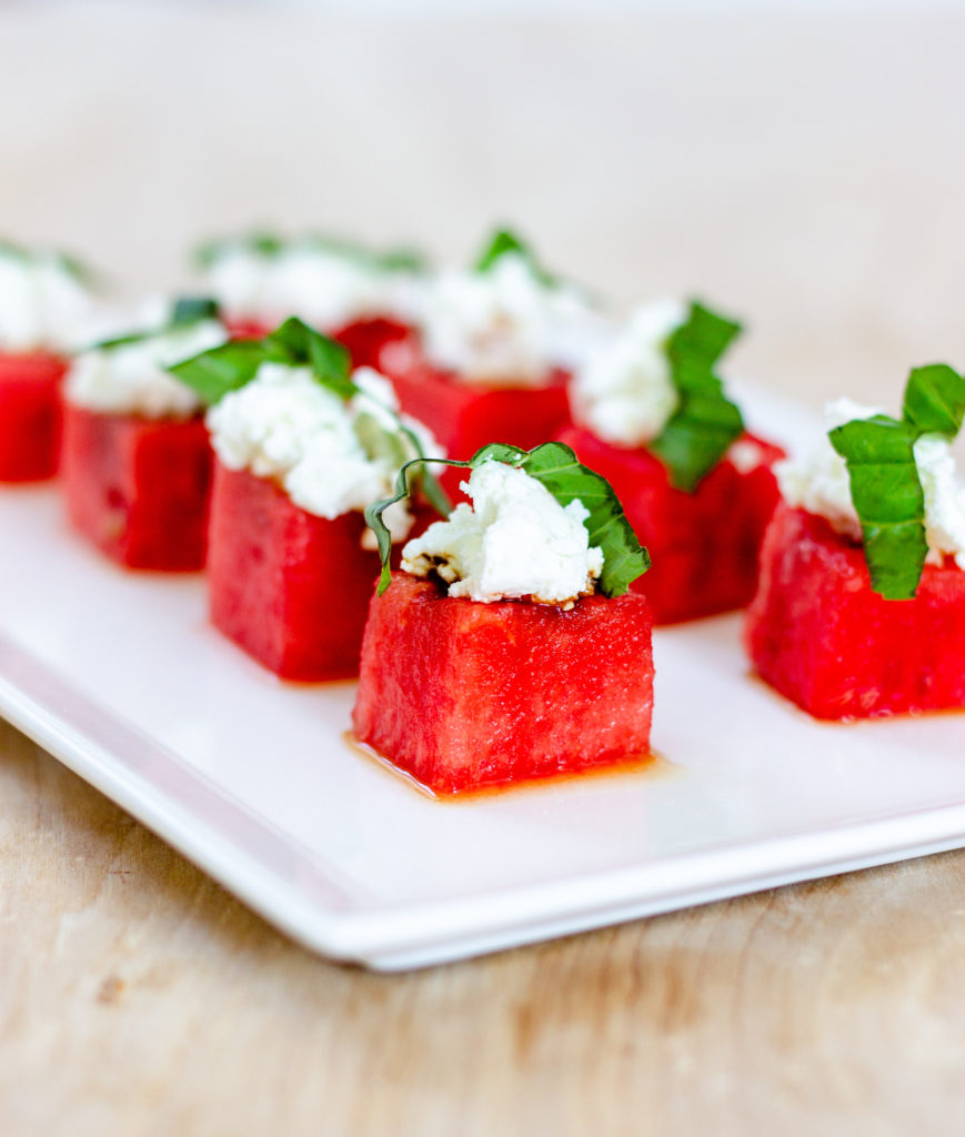 Watermelon Goat Cheese Canapes by Diverse Dinners