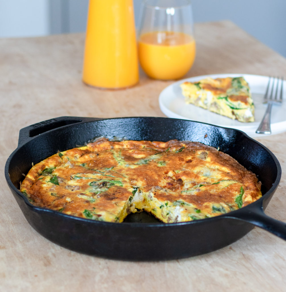 Sausage Ramp Goat Cheese Frittata by Diverse Dinners