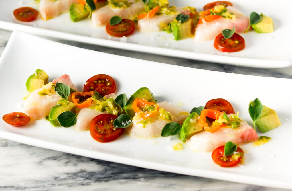 Spicy Hamachi Crudo by Diverse Dinners