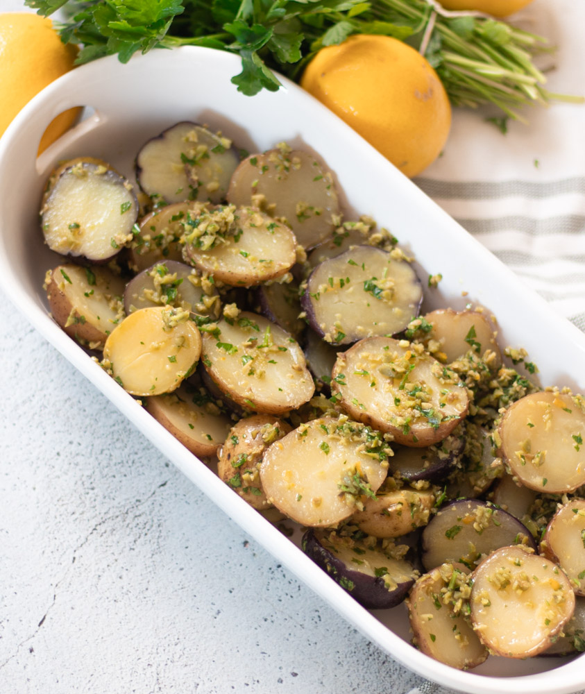 Lemon Olive Creamer Potatoes by Diverse Dinners